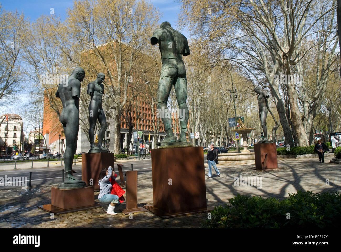 Sculptures by Igor Mitoraj in Paseo del Prado MADRID SPAIN - Stock Image