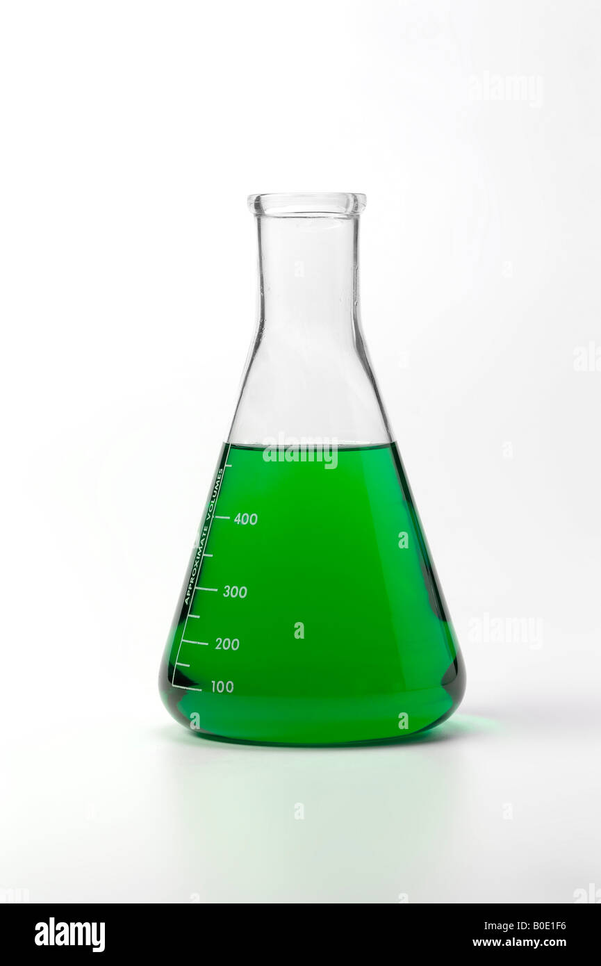 Beaker With Colorful Green Liquid Chemical On White Background - Stock Image