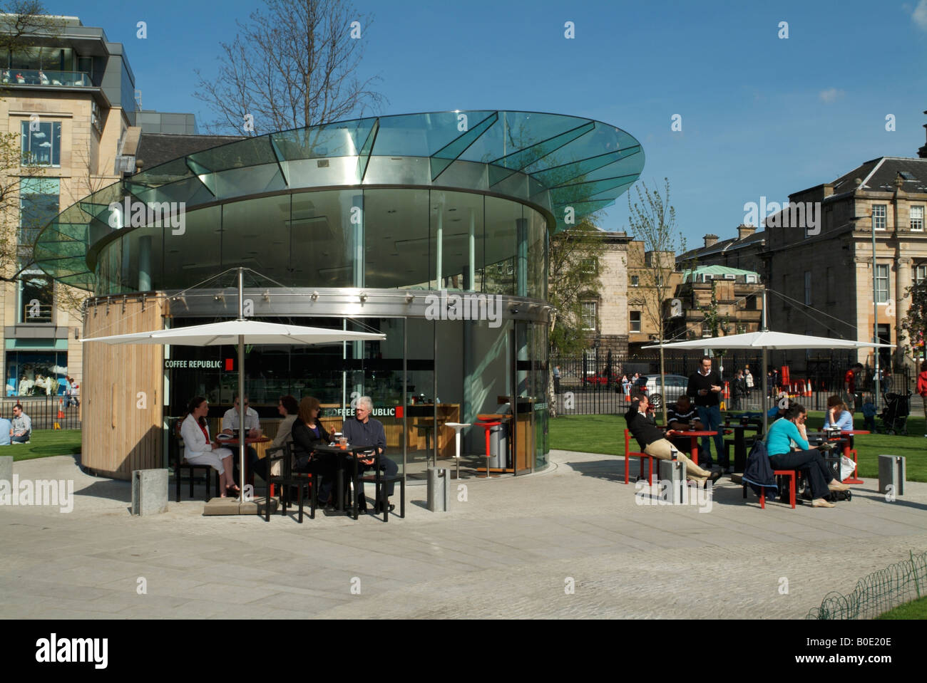 The new coffee pavilion in St Andrew Square gardens, Edinburgh. Stock Photo