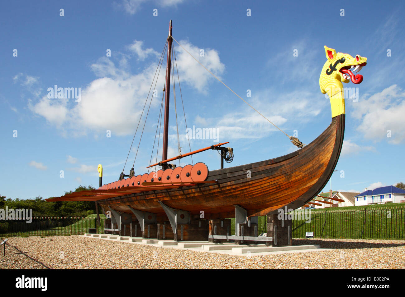 The 'Hugin' a replica of a Viking Ship. - Stock Image