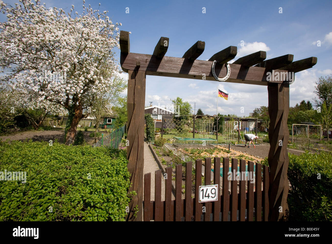 Typical german allotment garden in spring - Stock Image