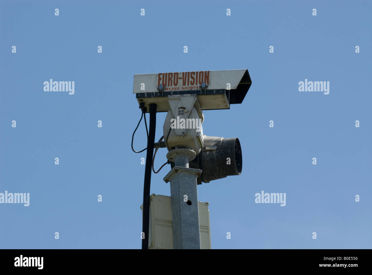 old cctv camera with infra red light security pole pan and tilt head - Stock Image