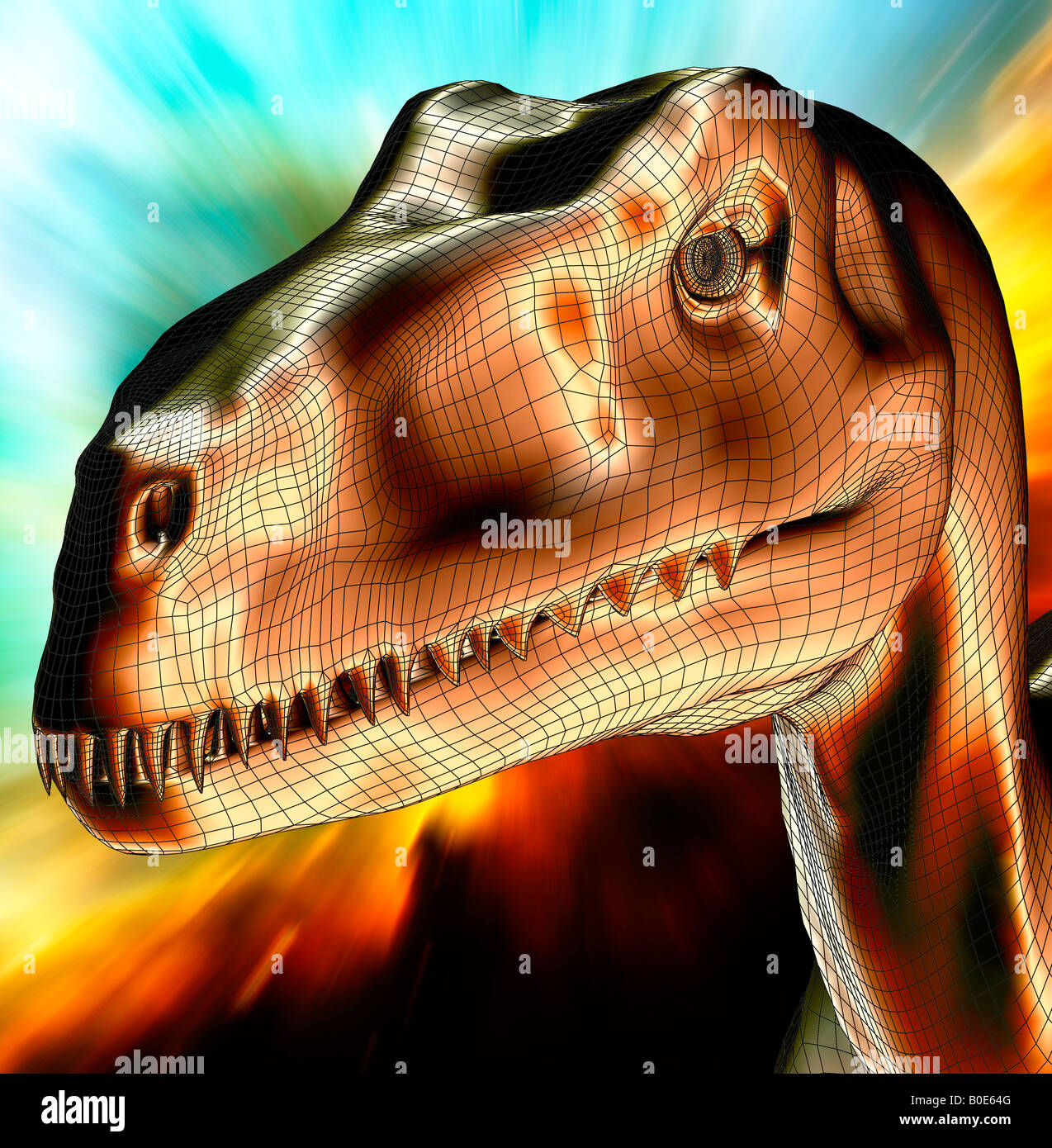 computer generated prehistoric dinosaur Deinonychus closeup of head galaxy background - Stock Image