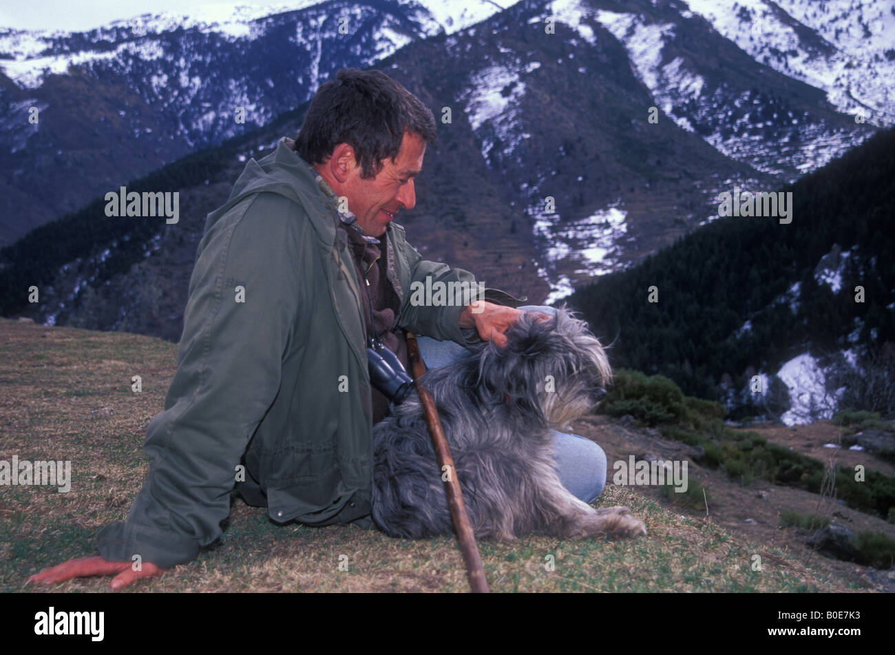 Pyrenean Mountain Dog and Shepherd -- Pyrenees France - Stock Image