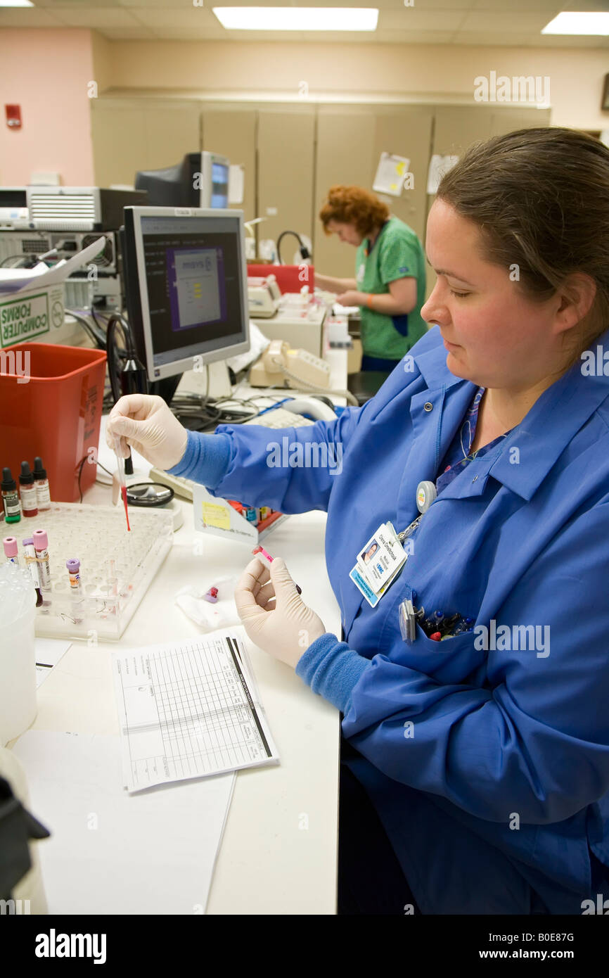 Detroit Michigan Olena Omeltchouk runs blood tests ordered by doctors at the Detroit Medical Center - Stock Image