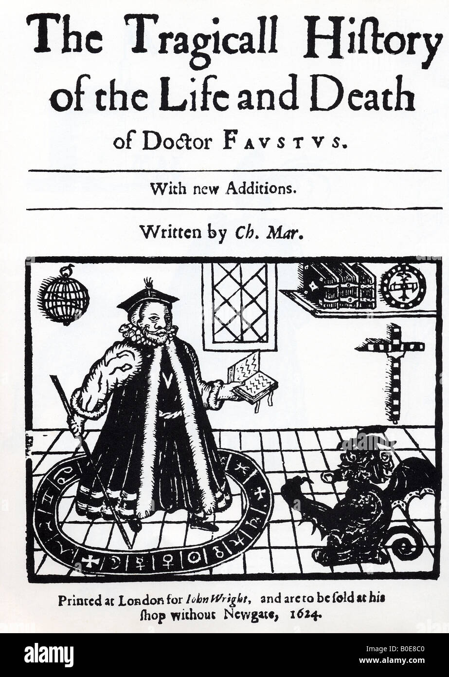 DR FAUSTUS frontespiece of the 1624 edition of Christopher Marlowe's play showing Faustus conjuring up Mephistopheles - Stock Image
