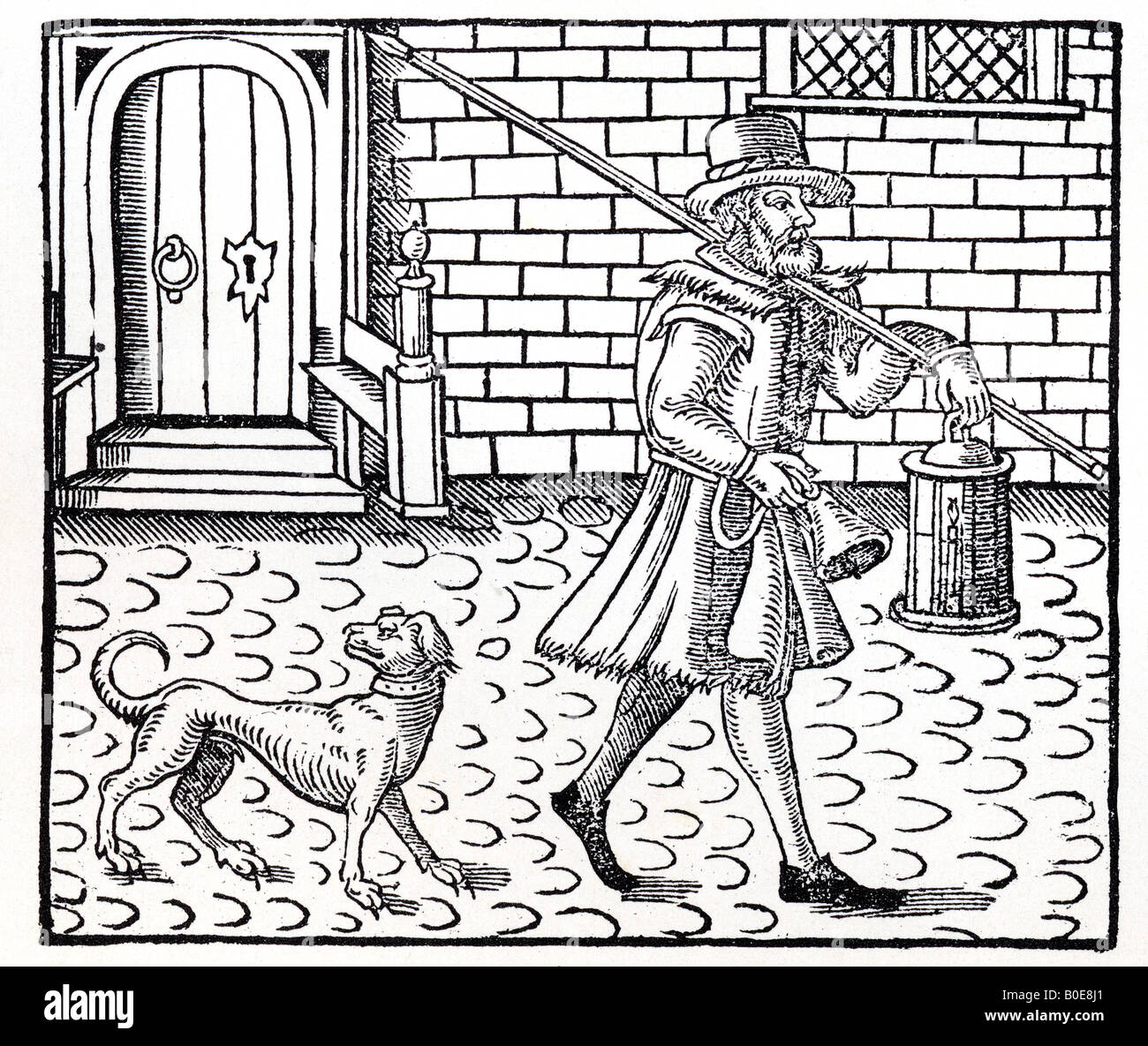 ELIZABETHAN NIGHTWATCHMAN with his dog in a woodcut engraving - Stock Image