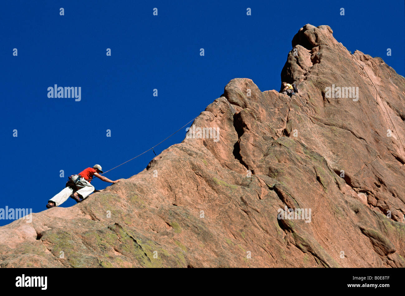 Rock climbers, Garden of the Gods Park, Colorado Springs, Colorado - Stock Image