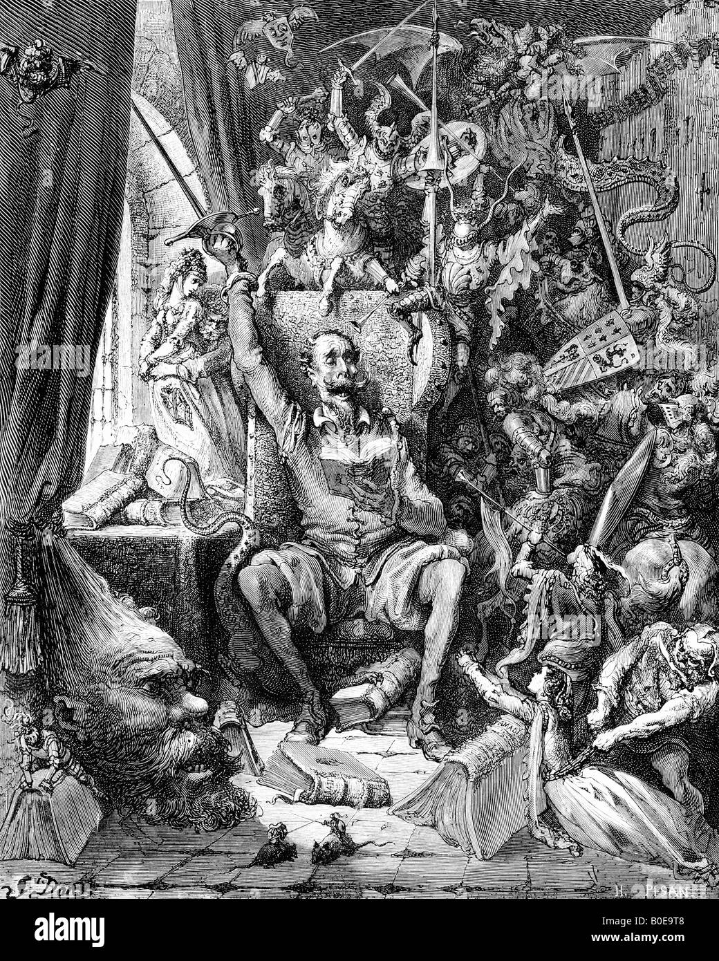 Engraving of Gustave Dore illustration of Don Quixote in