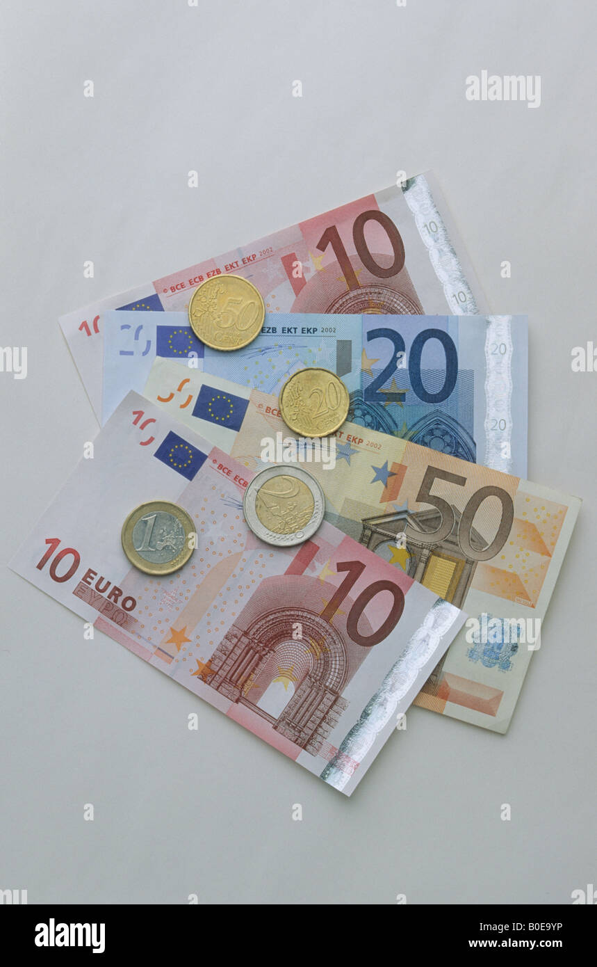 A selction of Euros , notes and coins - Stock Image