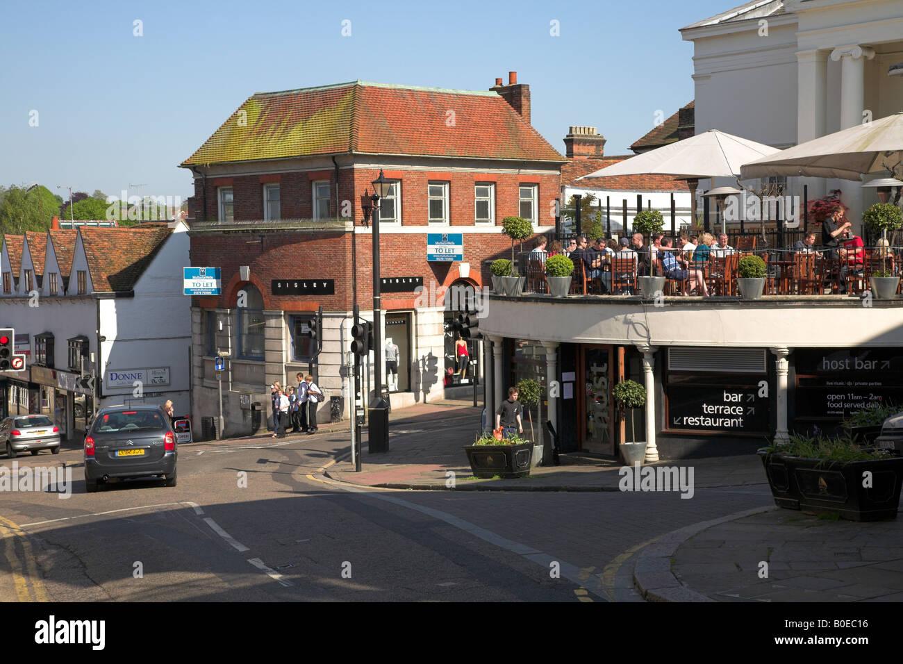 Cafe scene in the Hertfordshire market town of Bishop's Stortford. Stock Photo