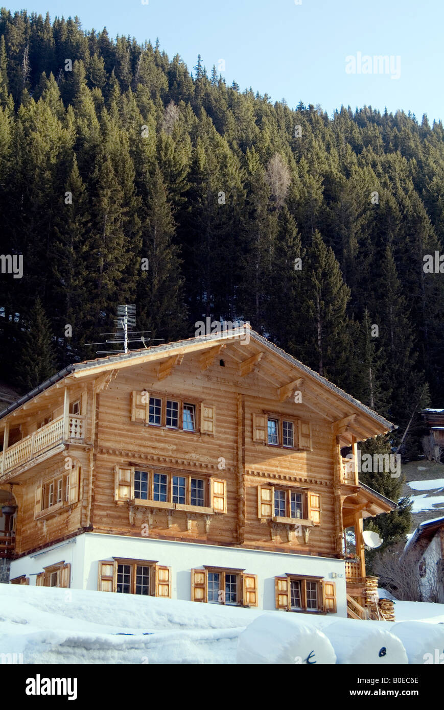 Swiss Ski Lodge Chalet Resort Building Wooden Alps Switzerland Snow Holiday Skiing Wood Construction Log Cabin Luxury