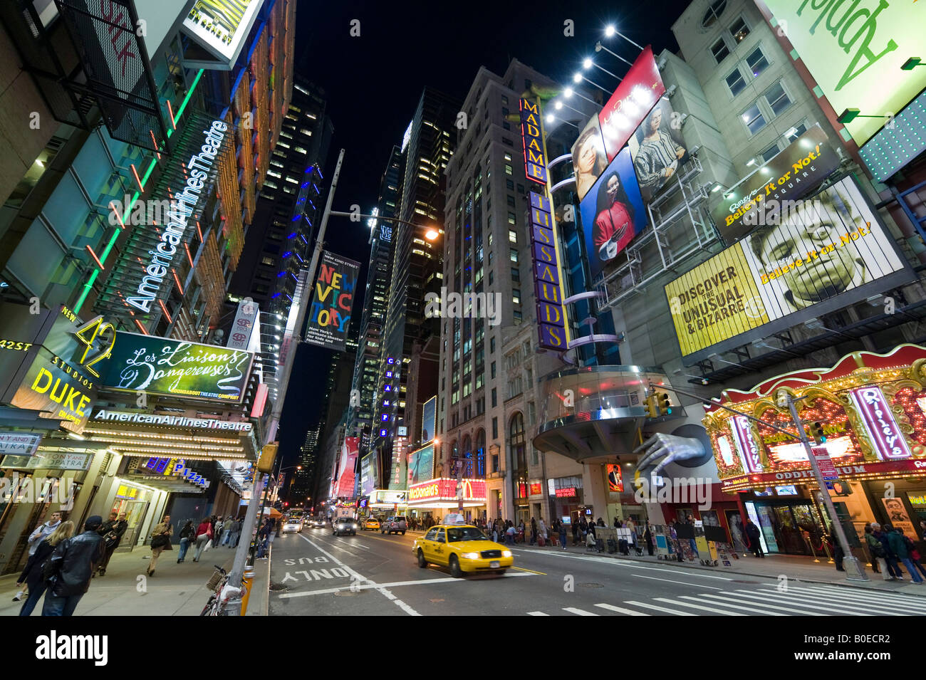 West 42nd Street at Times Square, Manhattan, New York City - Stock Image