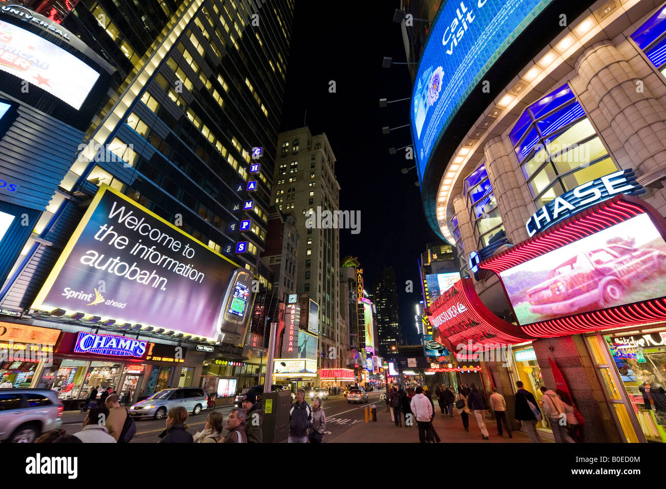 Junction of West 42nd Street and 7th Avenue at Times Square, Manhattan, New York City - Stock Image