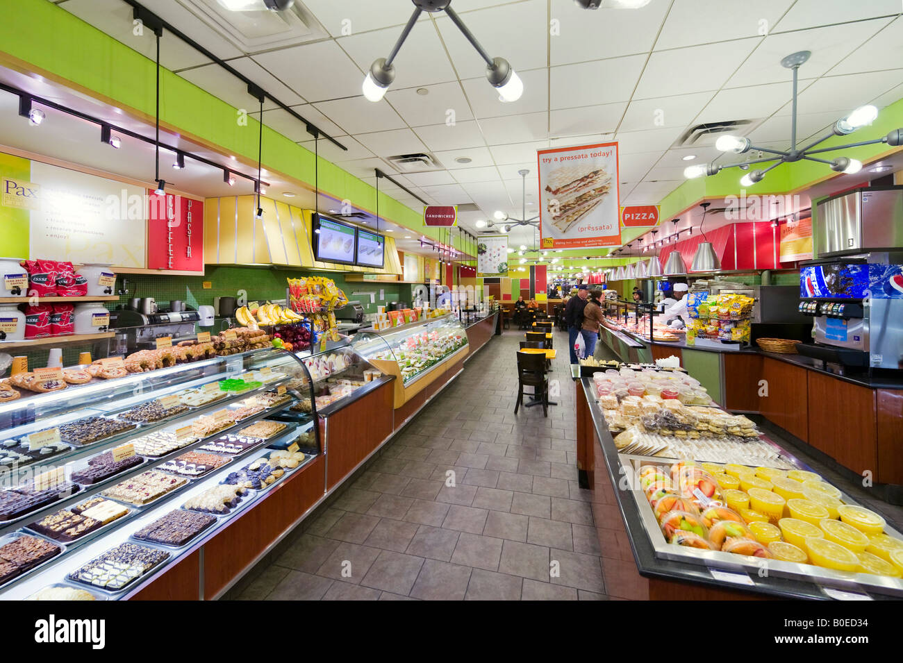 Interior of Deli Restaurant on West 42nd Street at Times Square, Manhattan, New York City - Stock Image