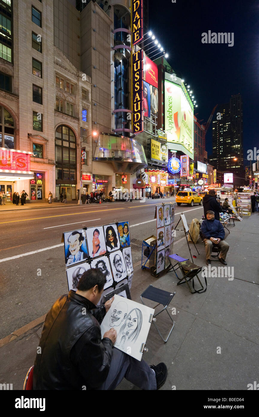Pavement Artist on West 42nd Street at Times Square, Manhattan, New York City - Stock Image