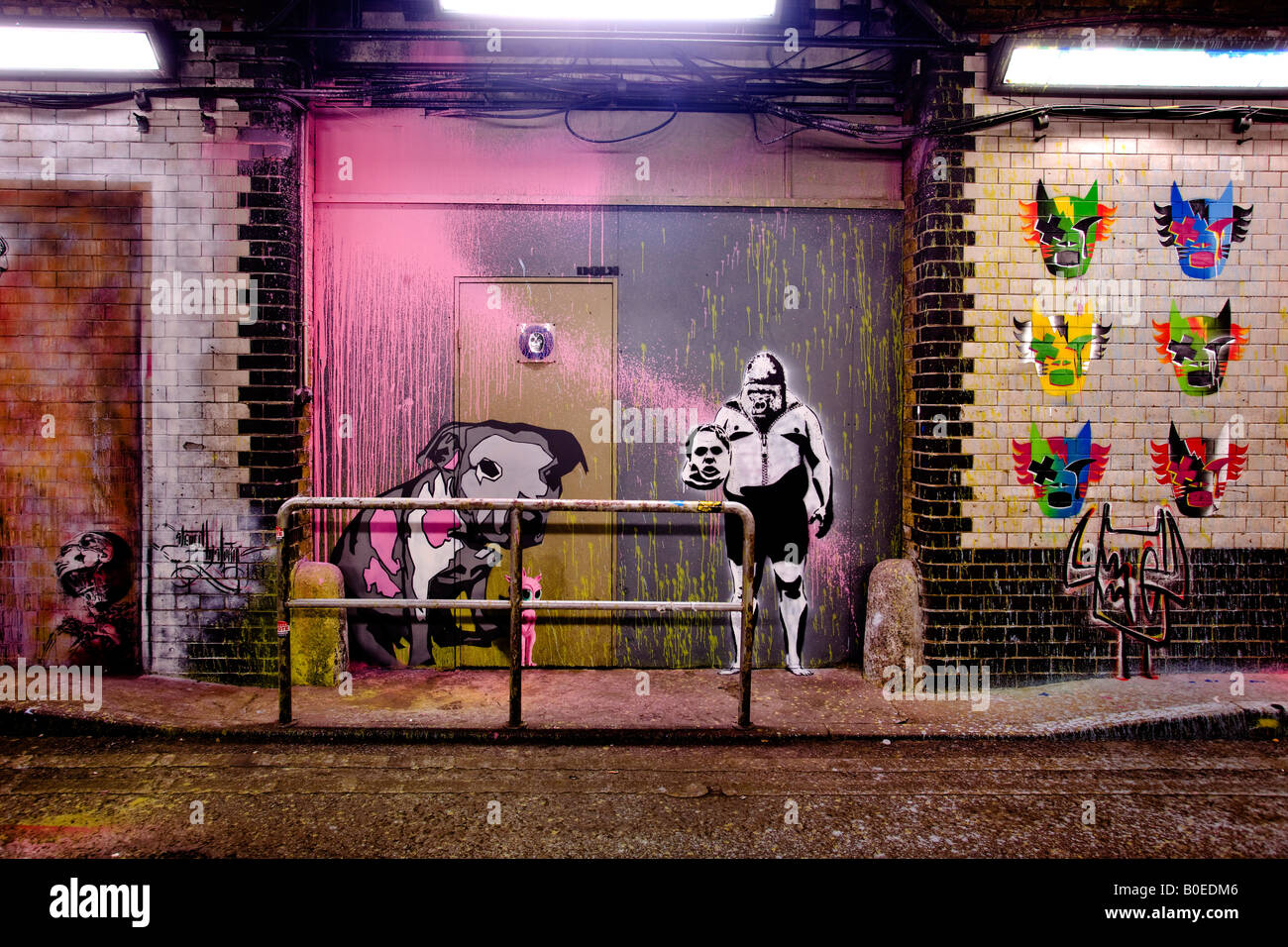 The Cans Festival - stencil art in a disused road tunnel in Waterloo, south London - Stock Image