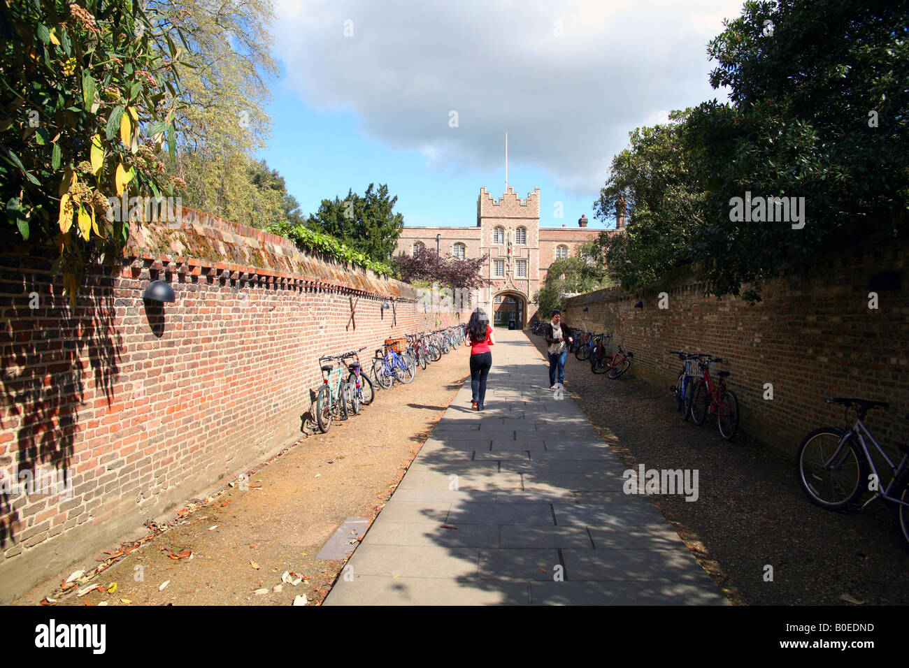 Main entrance to Jesus College Cambridge known as The Chimney - Stock Image