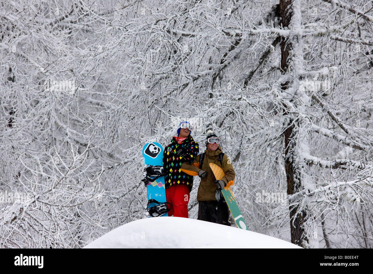 Snowboarders Clark Murray and Jo Howard look out over snowy alpine scene. - Stock Image