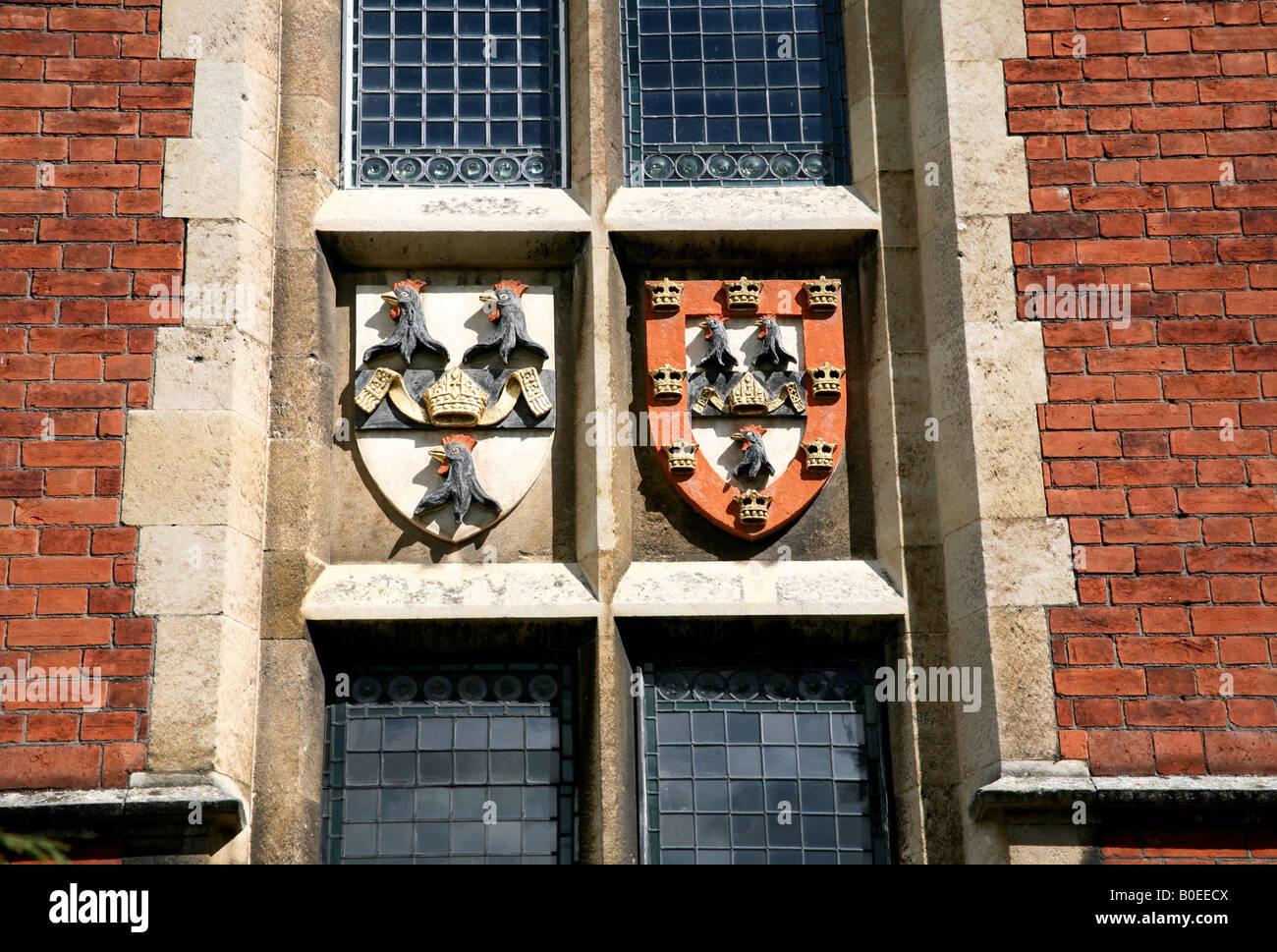 Coat of arms of Jesus College Cambridge - Stock Image