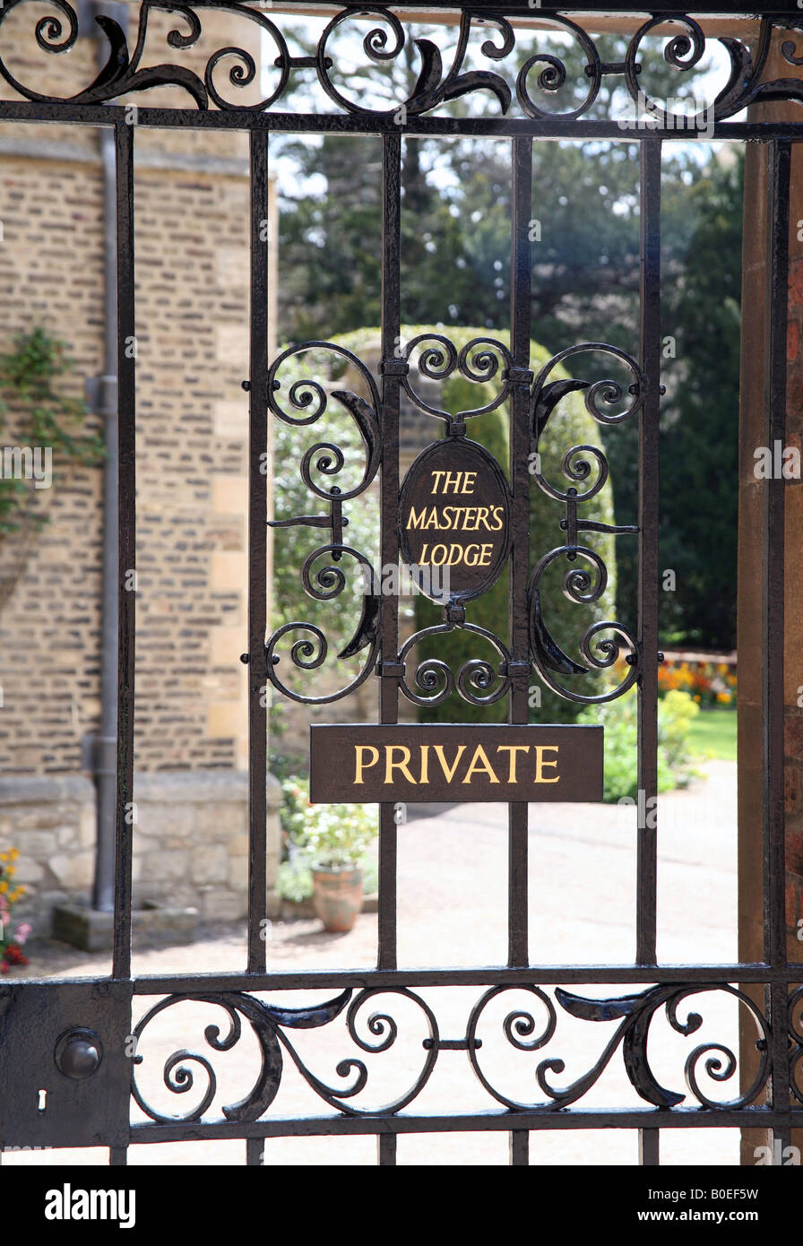 Gate to Master's Lodge in Jesus College, Cambridge - Stock Image