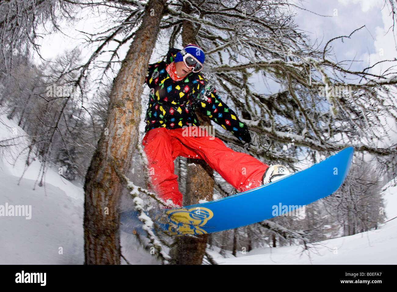 Snowboarder Jo Howard riding through a tree gap of piste in Tignes, France. - Stock Image