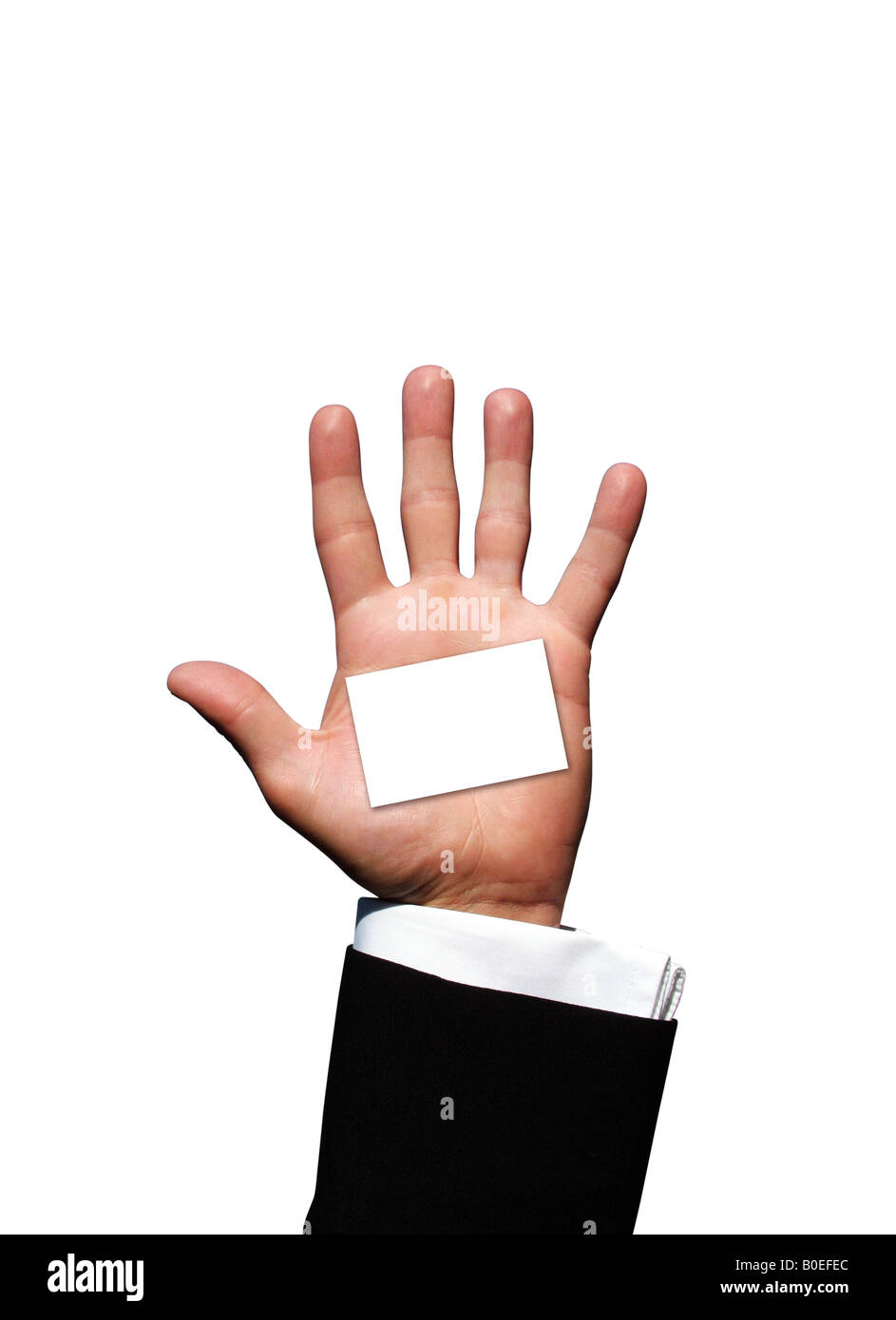 Blank business card in hand - Stock Image
