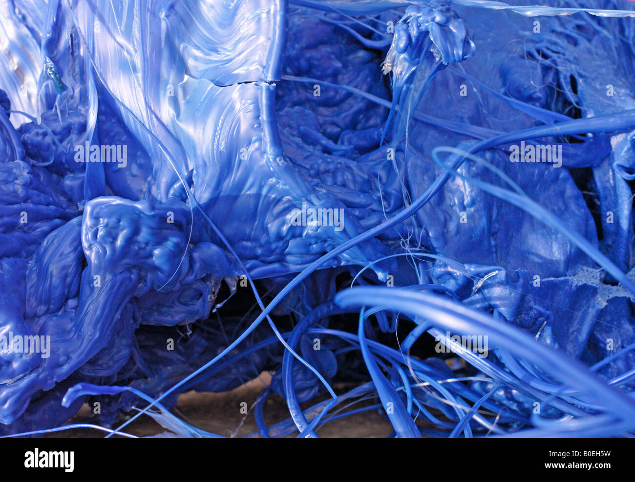 melted plastic waste - Stock Image