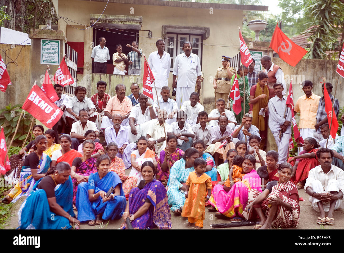 Communist Party Protest Rally Indian Land Workers Union BKMU holding a Sit Down - Stock Image