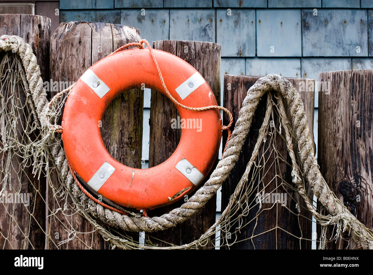 Life Ring And Fish Netting Create Outdoor Nautical Decor