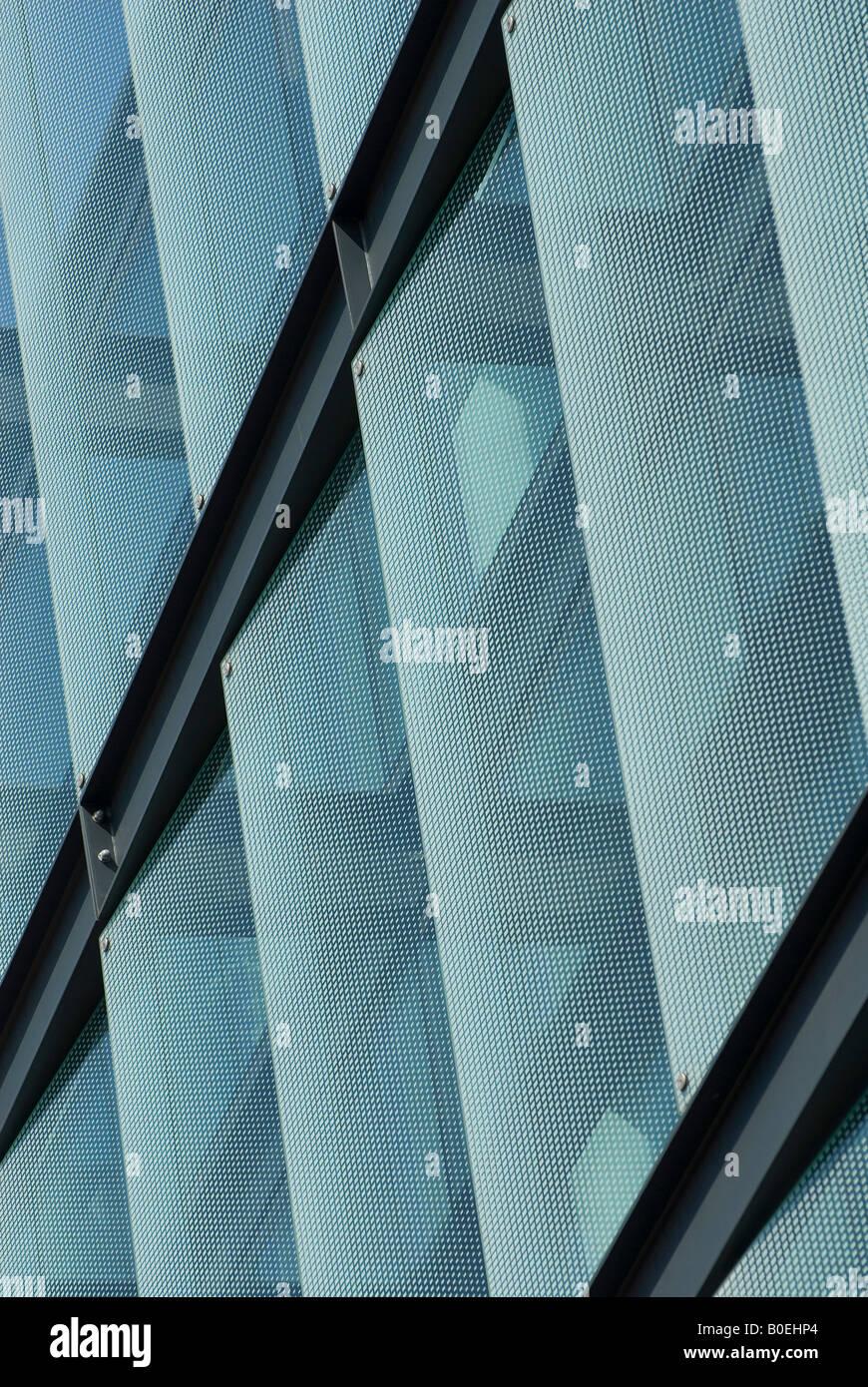 glass panels on modern office block, london, england - Stock Image