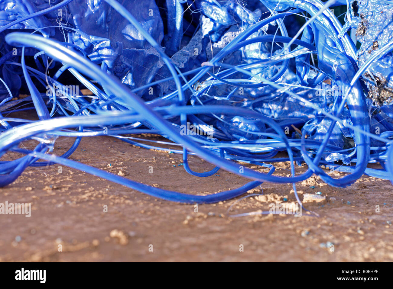strands of plastic waste - Stock Image