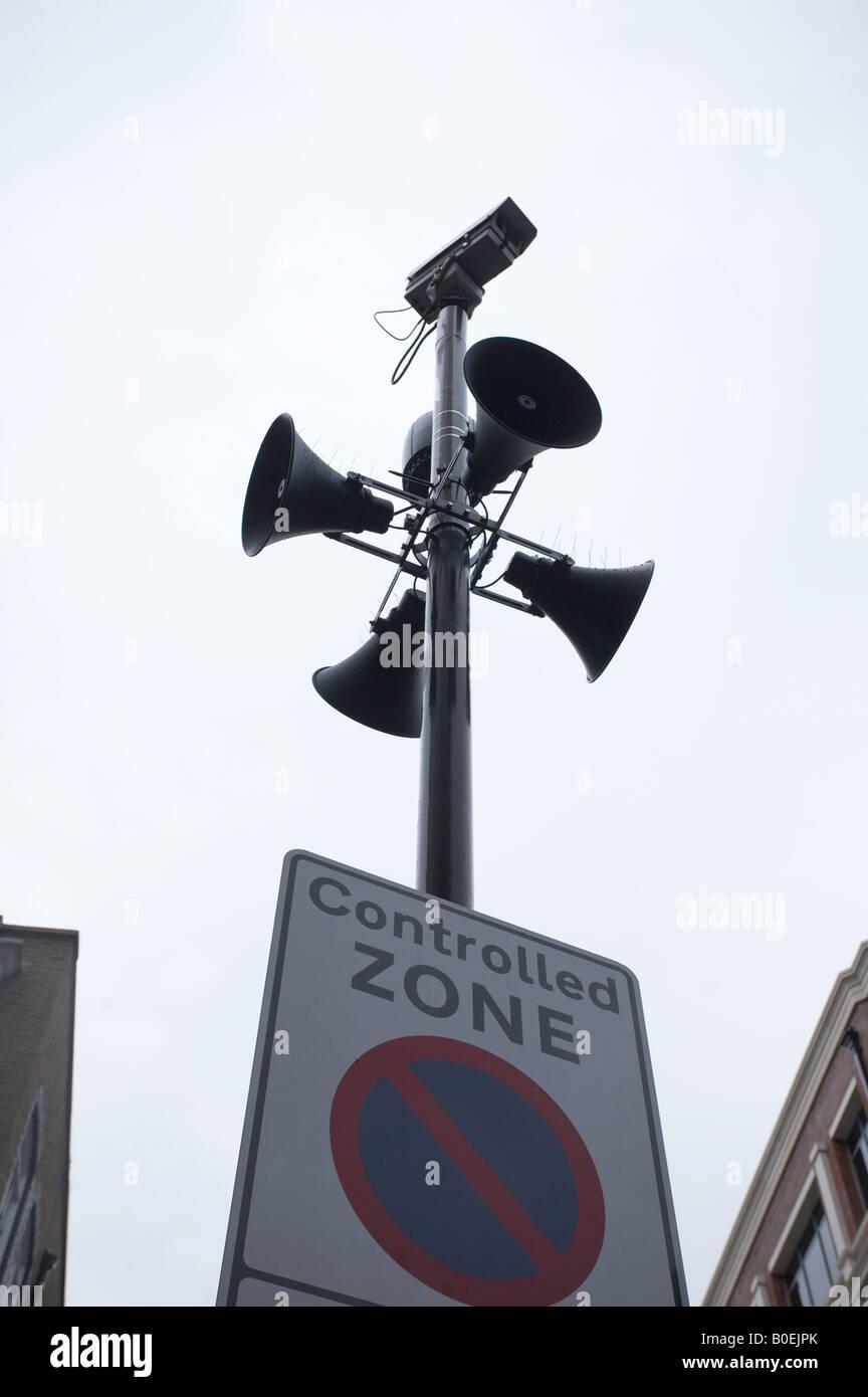 CCTV closed circuit television camera surveillance in London England UK - Stock Image