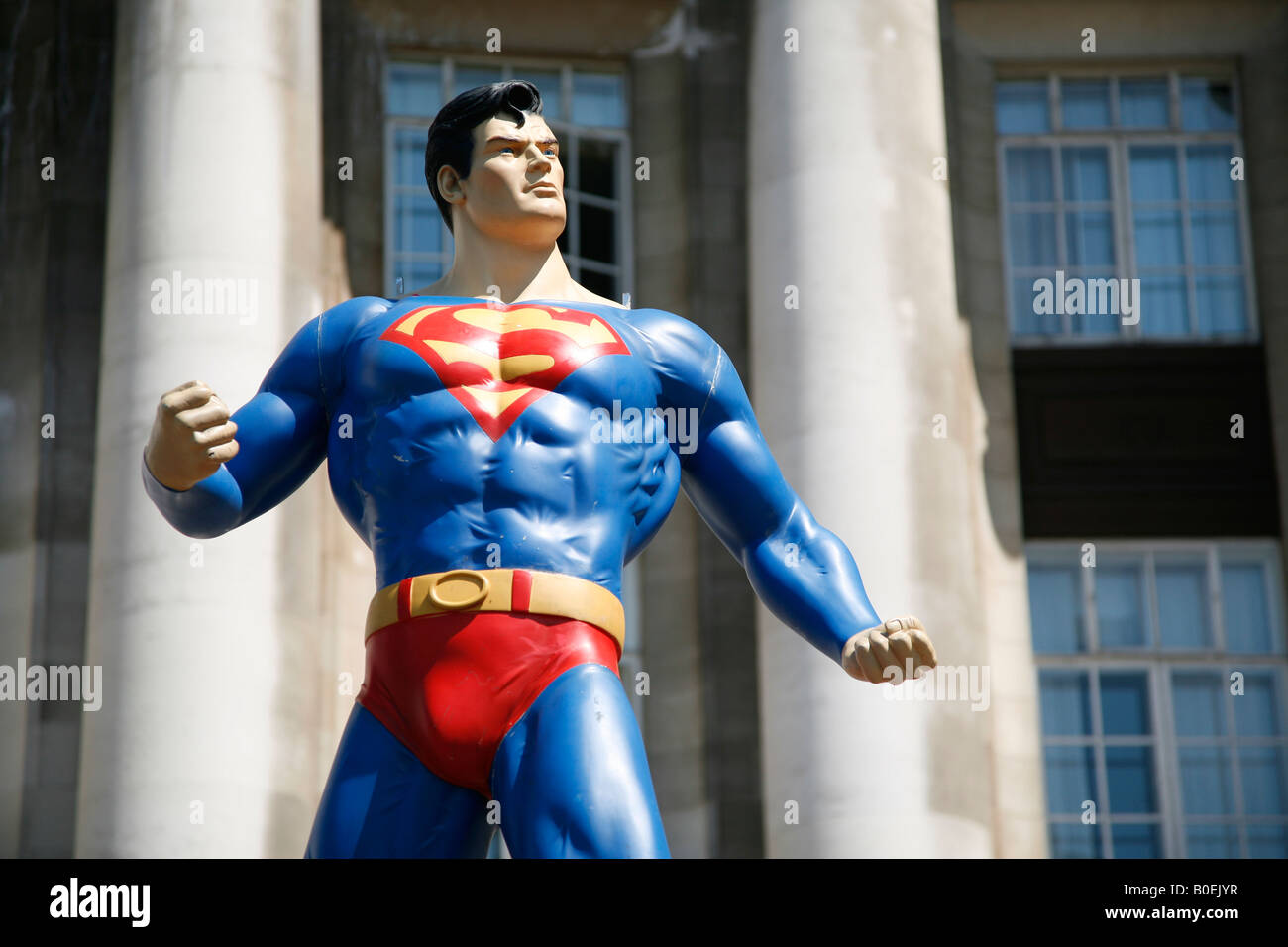 superman model in London on the south bank - Stock Image