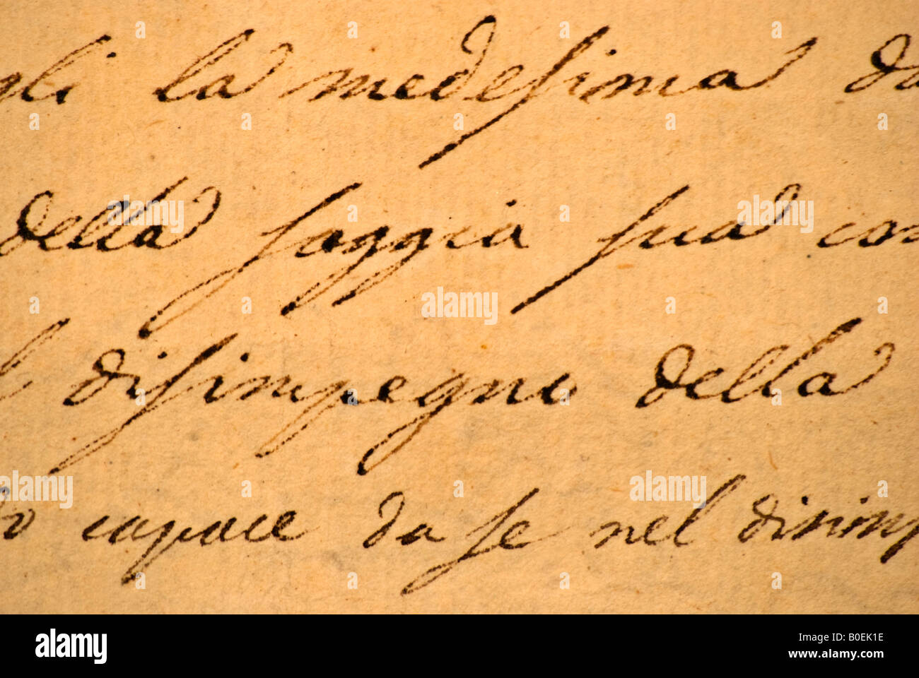 Close Up Of Italian Cursive Text On An Old Letter Handwritten Stock
