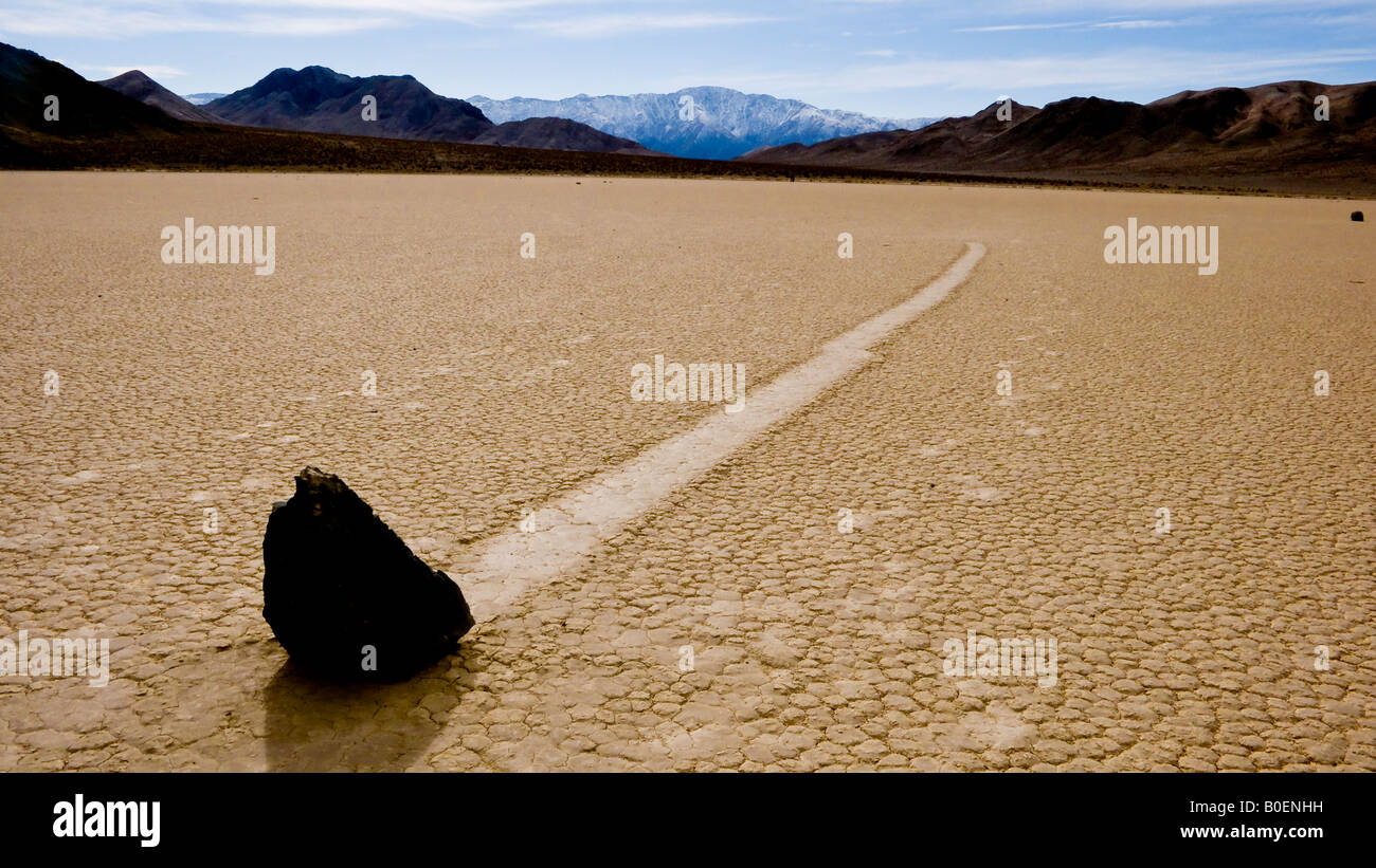 Rolling Rock The Racetrack Death Valley National Park California Nevada USA - Stock Image