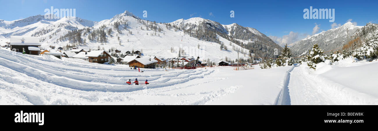 Winter panorama of Malbun, Liechtenstein FL - Stock Image