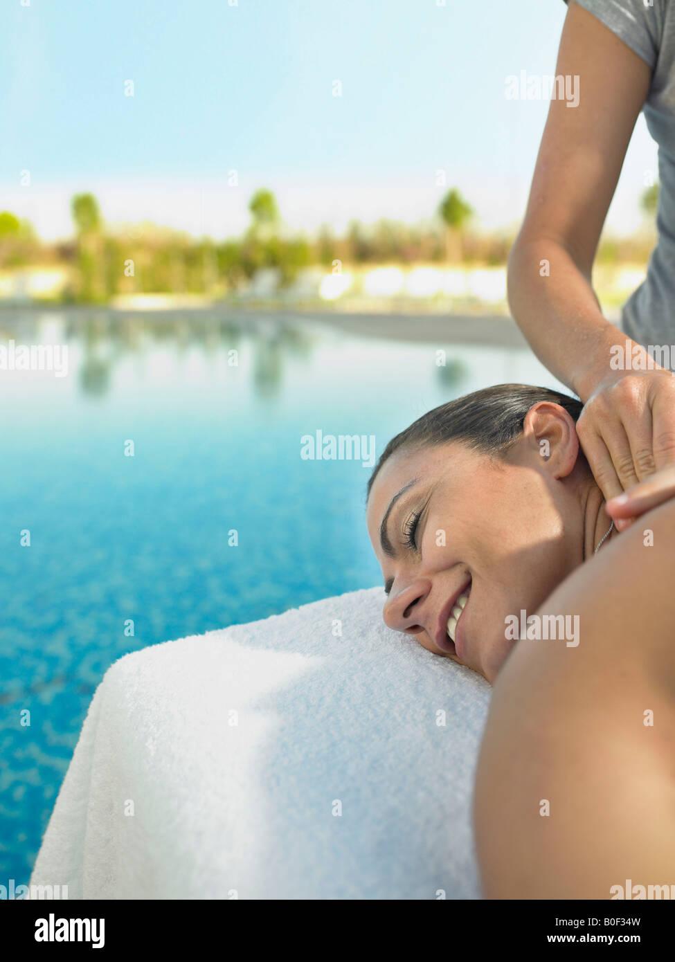 Woman receiving a luxury massage Stock Photo