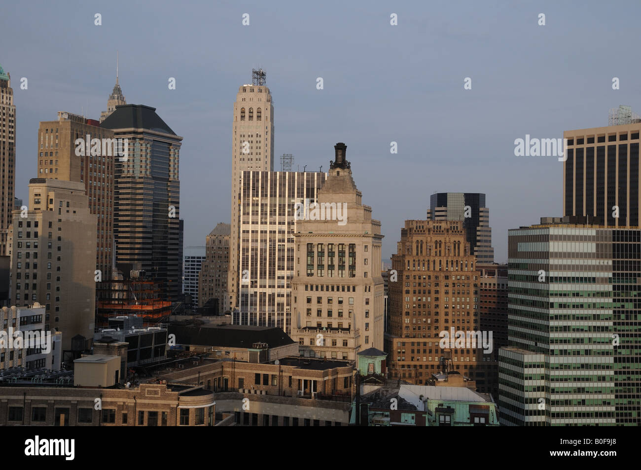 The skyline of Lower Manhattan. The stepped top of the former Standard Oil building is in the center of the picture. Stock Photo