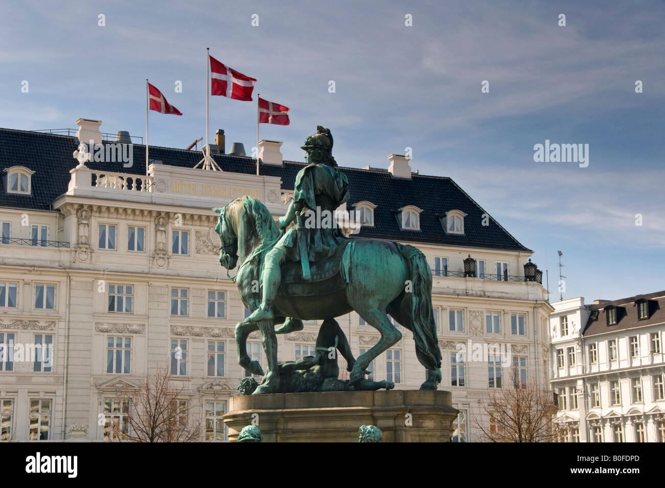 Christian V Statue & Hotel d' Angleterre, Kongens Nytorv, Copenhagen, Denmark, Europe - Stock Image