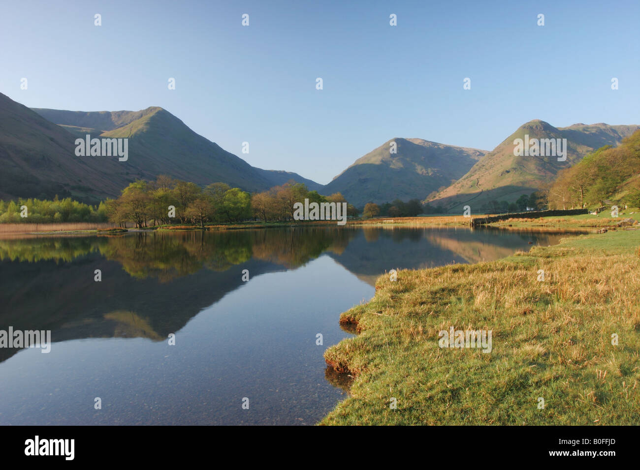 The View Across Brothers Water towards the Mountains of High Hartsop, Dodd, Hartsop Dodd and Caudale Moor Lake District, - Stock Image