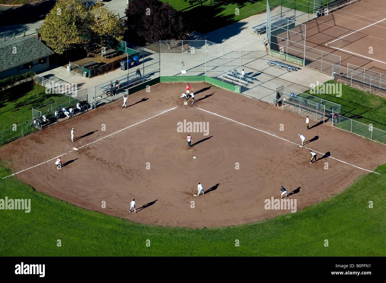 aerial above baseball little league Petaluma, California sports - Stock Image
