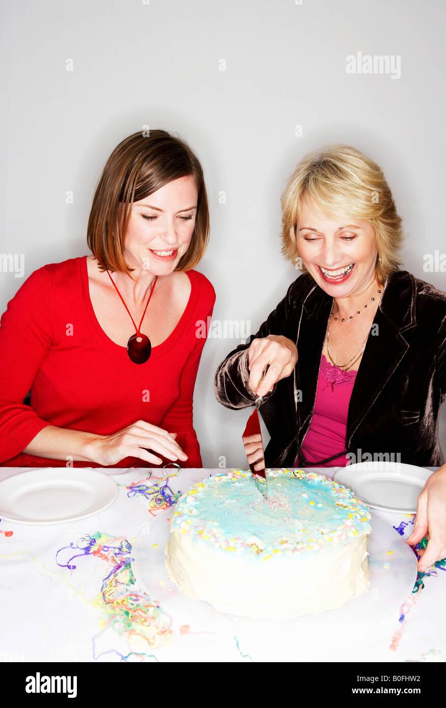 Stupendous Two Women Cutting Birthday Cake Stock Photo 17553678 Alamy Birthday Cards Printable Benkemecafe Filternl