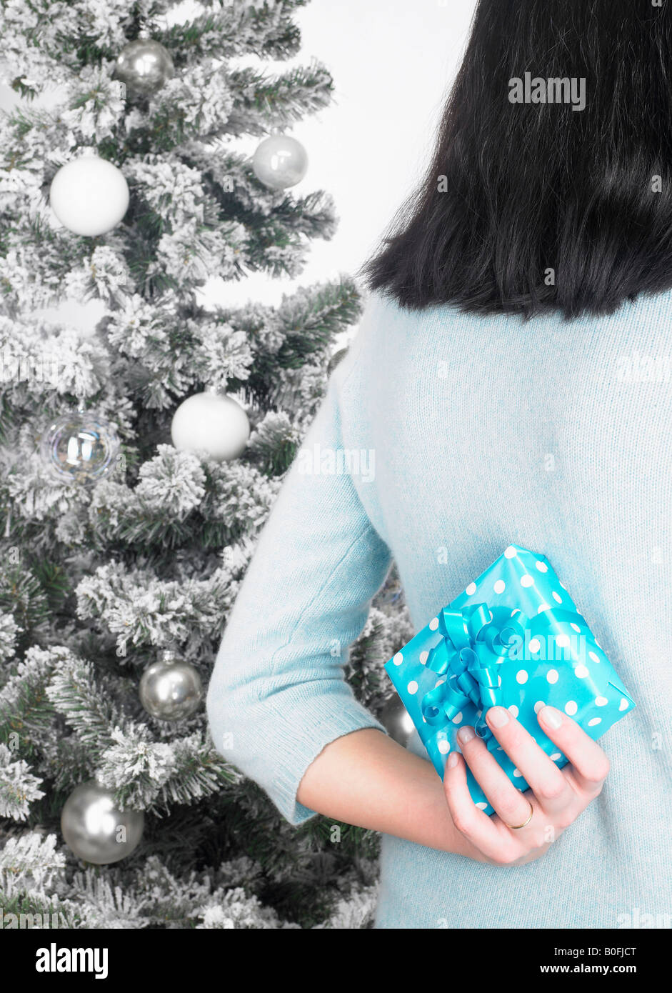 Woman next to a fir-tree, with present - Stock Image