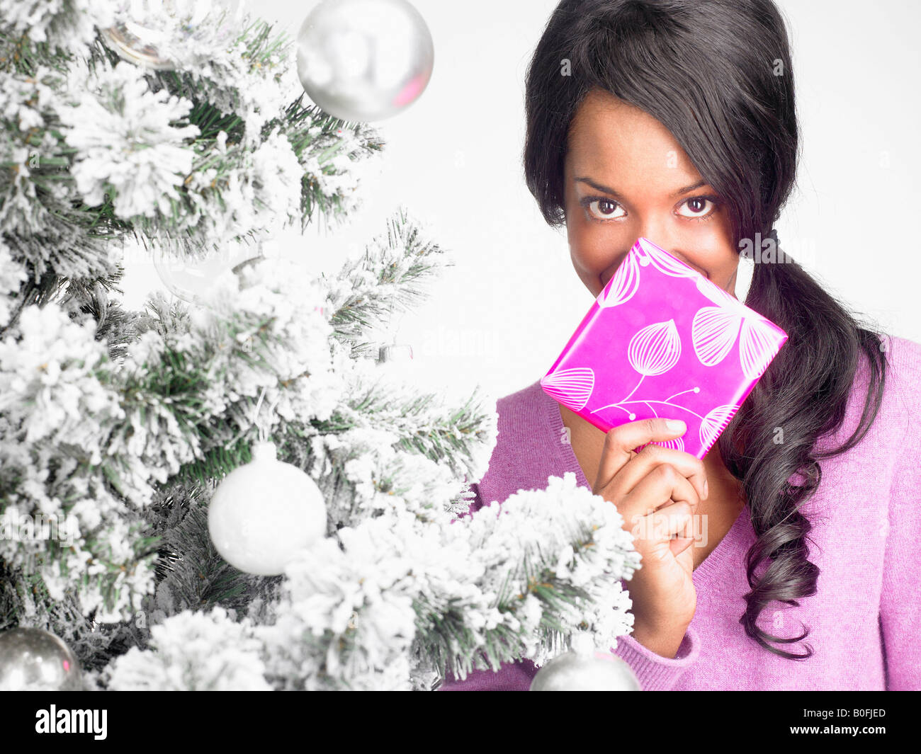 Woman with present by a fir-tree - Stock Image
