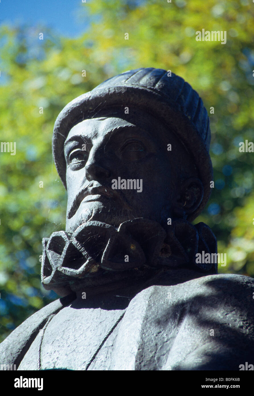 Detail of the statue of king Philip II. El Escorial. Madrid province. Spain. - Stock Image