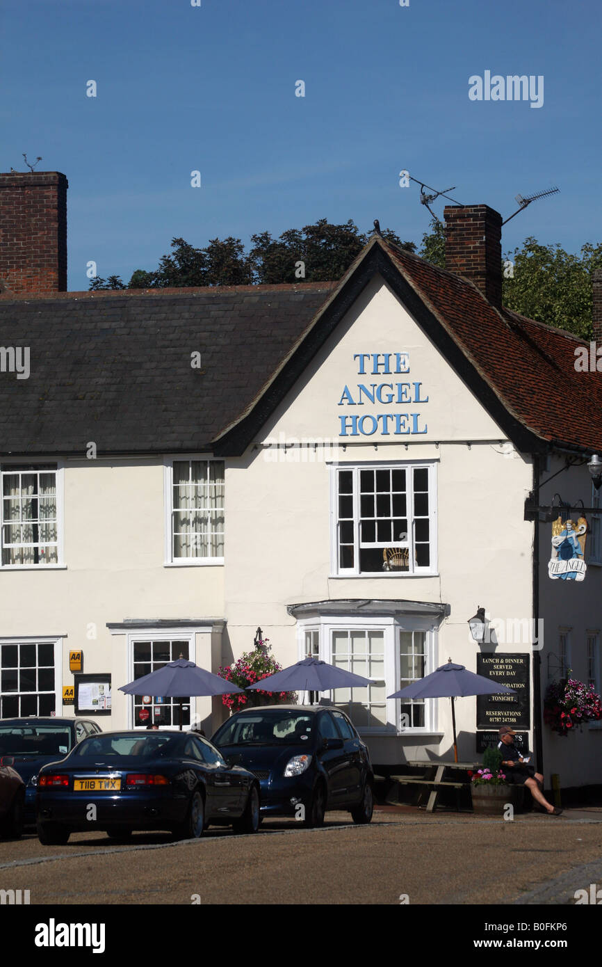 Lavenham Suffolk The Angel Hotel in the centre of town Stock Photo