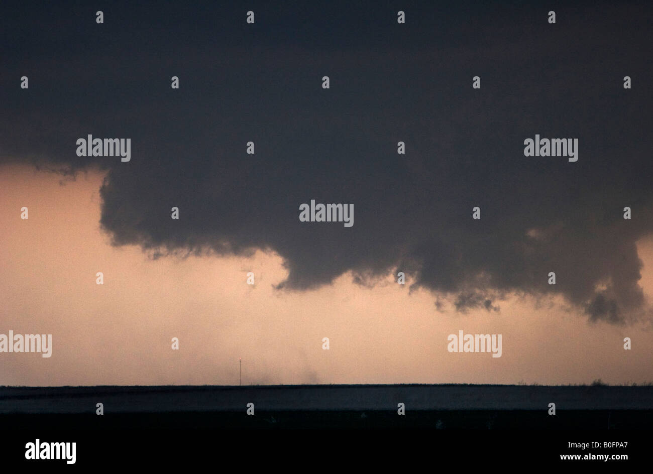 Large wall cloud of a tornado warned supercell thunderstorm in North Central Kansas April 24 2008 - Stock Image