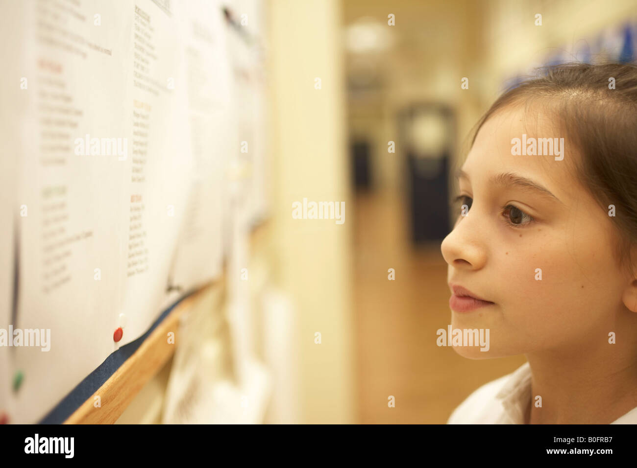 Girl reading message board - Stock Image