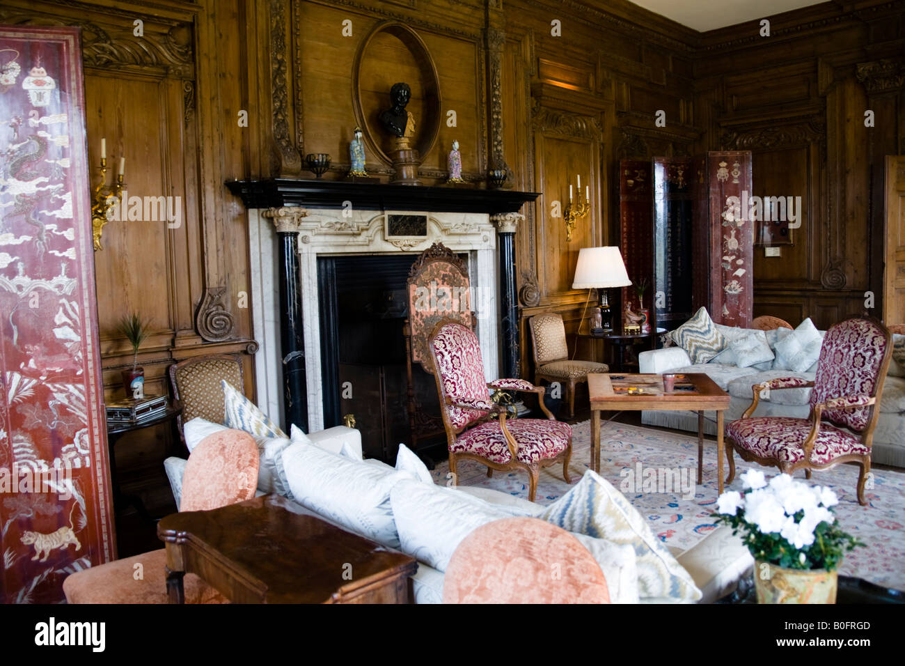 Living Room In Modern Section Of Leeds Castle Kent England Great Britain
